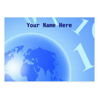 Binary Globe Background, Your Name Here Large Business Cards (Pack Of 100)