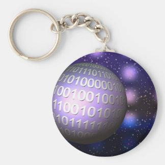 Binary Globe Key Chains
