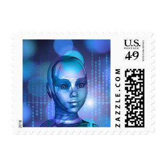 Binary Head Robot Cybernetics Sci-Fi Stamp