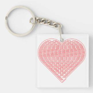 Binary Heart Acrylic Key Chain