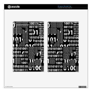 Binary in Black & White Decal For Kindle Fire