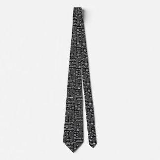 Binary in Black & White Neck Tie