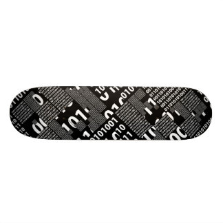Binary in Black & White Skateboard Deck