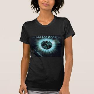 Binary information data globe t shirts