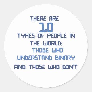 binary joke classic round sticker