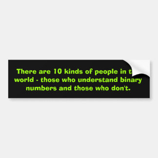 Binary numbers car bumper sticker