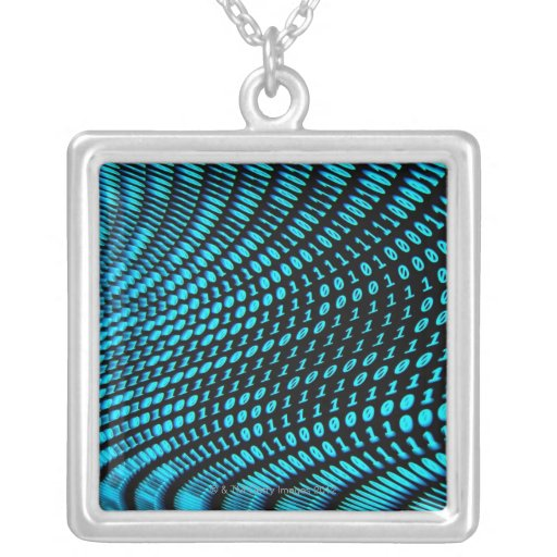 Binary Numbers Square Pendant Necklace