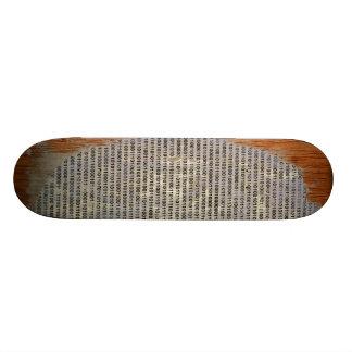 binary on wood skateboard