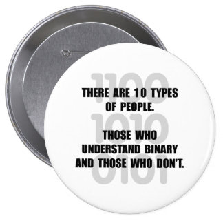 Binary People 4 Inch Round Button