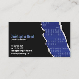 Rip business cards templates zazzle binary rip blue business card colourmoves