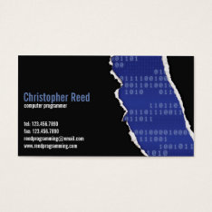 Binary Rip - Blue Business Card at Zazzle