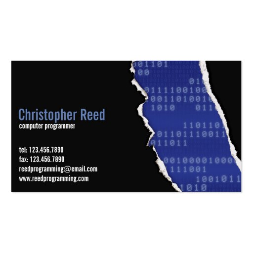 Binary Rip - Blue Business Card Template