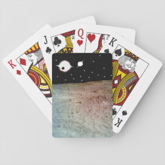 Binary star system with planet playing cards
