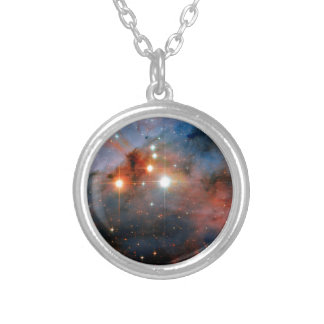 Binary Stars WR 25 & Tr16-244 - Hubble Space Photo Silver Plated Necklace