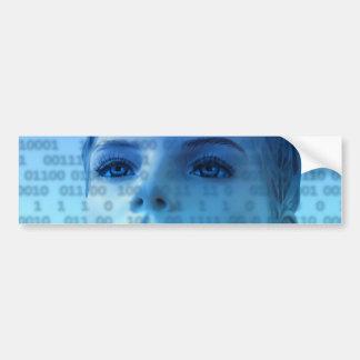 Binary Thoughts in Blue Car Bumper Sticker