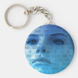 Binary Thoughts in Blue Keychain