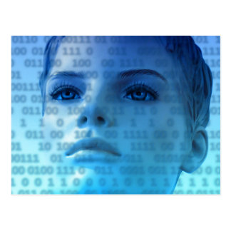 Binary Thoughts in Blue Post Card