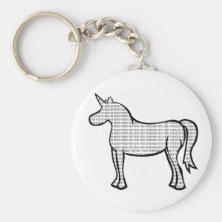 Binary Unicorn Basic Round Button Keychain
