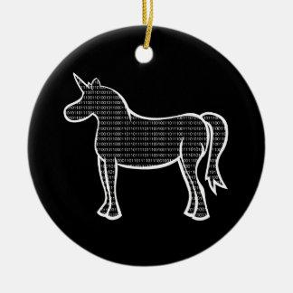 Binary Unicorn Double-Sided Ceramic Round Christmas Ornament