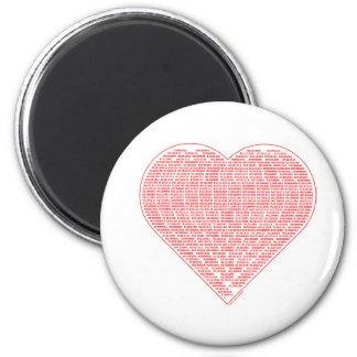 Binary Valentine Round Magnet Magnets