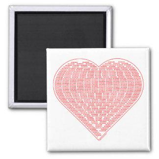 Binary Valentine Square Magnet Magnets