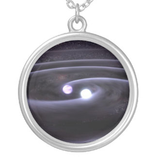 Binary White Dwarf Silver Plated Necklace