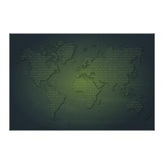Binary World world Map Xlarge Canvas