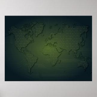 Binary World World Map  XLarge Poster