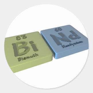Bind as Bi Bismuth and Nd Neodymium Classic Round Sticker