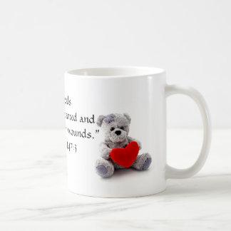Bind the Brokenhearted Teddy Heart Bible Verse Mug
