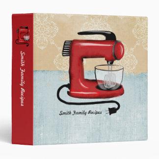 """Binde rojo retro del libro de cocina de la receta carpeta 1 1/2"""""""