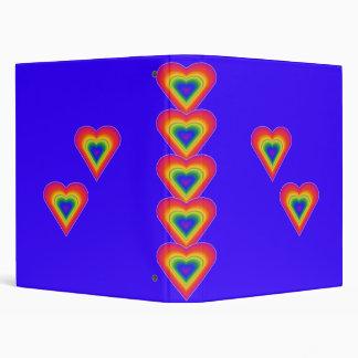 BINDER.6201.HEARTS.RAINBOWS.BLUEBCK 3 RING BINDER