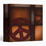Binder, Abstract Rustic Peace Sign and Heart Binders