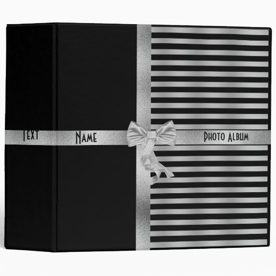 Binder Black Silver Stripe Photo Album