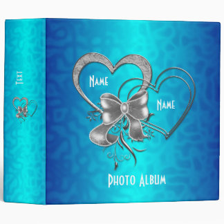 Binder Bright Blue Silver Hearts Photo Album