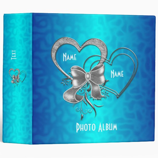 Binder Bright Blue Silver Hearts Photo Album