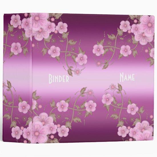 Binder Bright Pink Floral