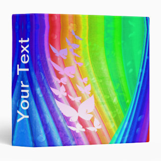 Binder, Butterflies Against Rainbow Abstract Binder
