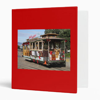 Binder, Cable Car, red background 3 Ring Binder