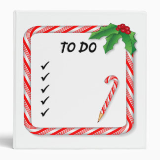 Binder, Christmas To Do List, Candy Cane Frame 3 Ring Binders