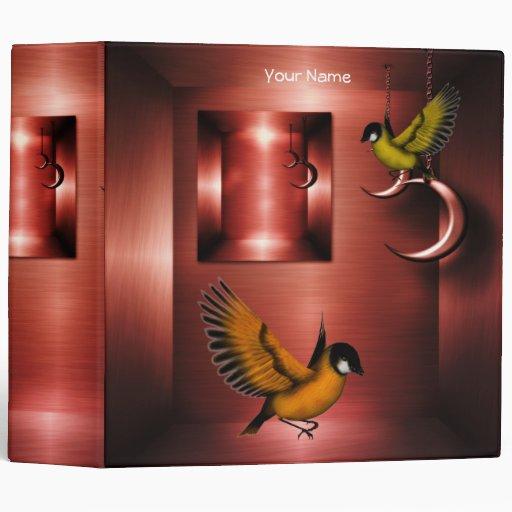 Binder Copper Brass Birds Orange Binders