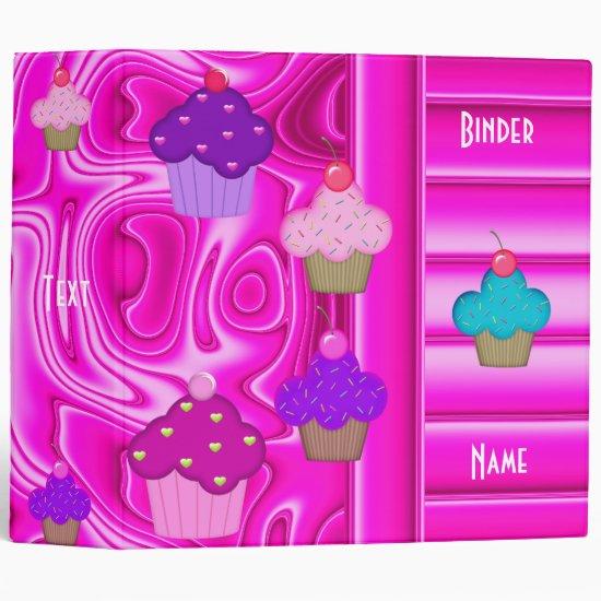 Binder Cupcakes Bright Sugar Pink Swirl