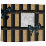 Binder Engagement Album Black Gold Stripe Photo