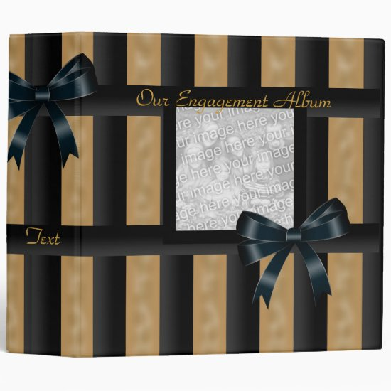 Binder Engagement Album Black Gold Stripe Photo