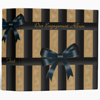 Binder Engagement Photo Album Black Gold Stripe Vinyl Binders