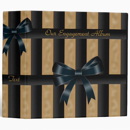 Binder Engagement Photo Album Black Gold Stripe