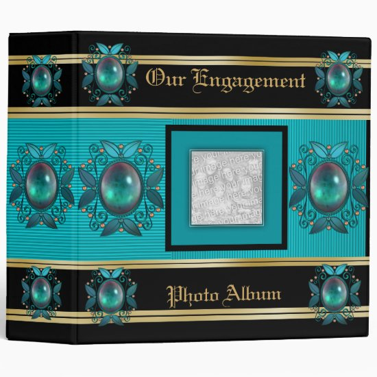 Binder Engagement Photo Album Teal Jewel Frame