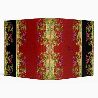 Binder Exotic Floral Black Red Sandpaper Prints Binder