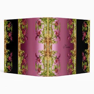 Binder Exotic Pink Floral Black Prints Vinyl Binders