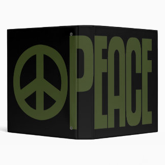 Binder, Giant Olive Green Peace Sign Design Binder